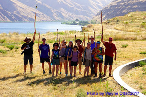 2017 NPTF Summer Educational Trail Tour students visit The Confluence Circle along the Snake River. This area was blessed by Nez Perce elders as a sacred site, and was the former homeland of Chief Timothy's band. It was designed by Maya Lin, who also designed the Vietnam Memorial in Washington, DC.